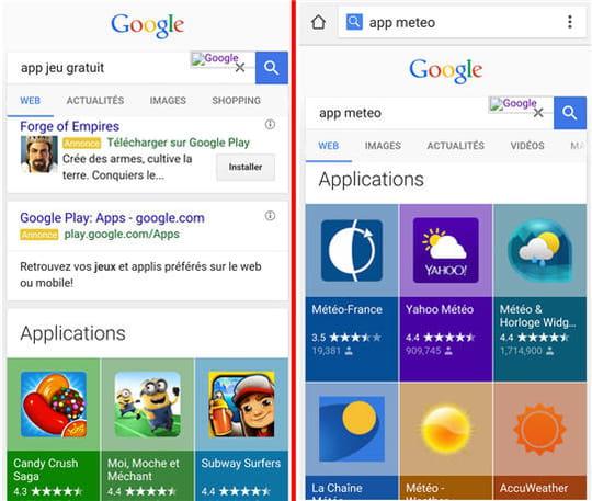 Les apps prennent encore plus de place dans les résultats de Google