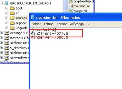 vérifier que la version minclient est égale à moins de 7100
