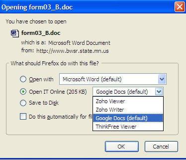 depuis le navigateur, l'extension propose aussi d'ouvrir un document via un