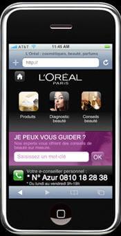 page d'accueil du site iphone de l'oréal paris