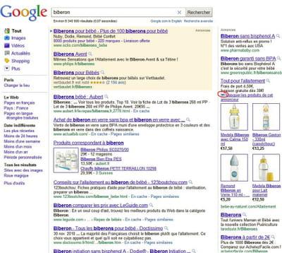 capture d'écran d'une requête 'biberon' faisant apparaître des annonces google