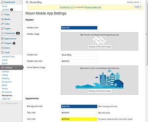 interface de configuration d'application de mouinpress.