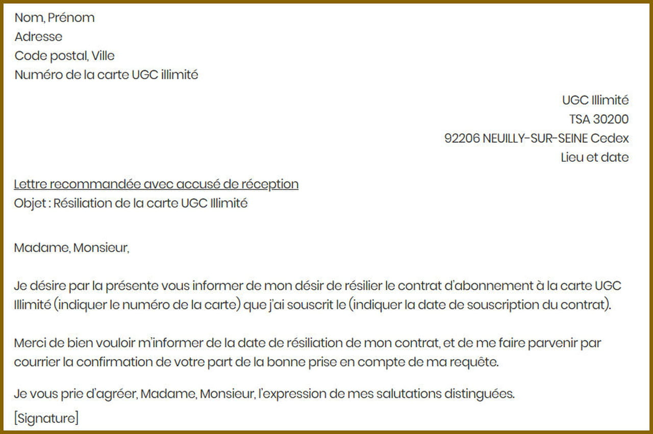 Lettre De Resiliation Ugc Modele Gratuit De Lettre