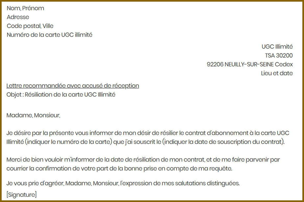 lettre de r u00e9siliation ugc
