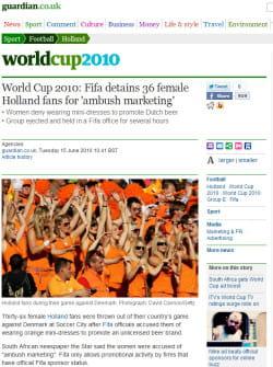 un article du 'guardian' relatant l'opération d'ambush marketing de bavaria