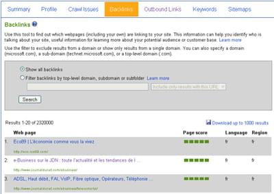 l'outil backlinks permet pour chaque tableau de bord d'accéder à un fichier .csv