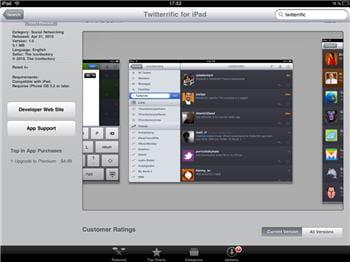 l'application twitterific sur l'app store