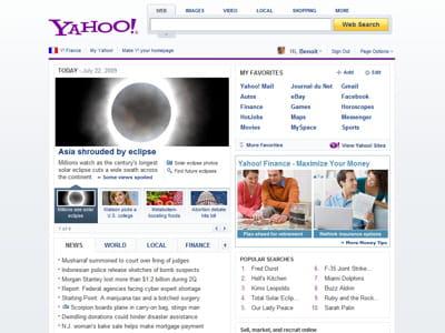exemple de la version compacte de la page d'accueil de yahoo
