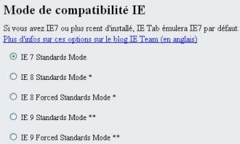 ie tab permet de choisir quelle version d'ie chrome va émuler.
