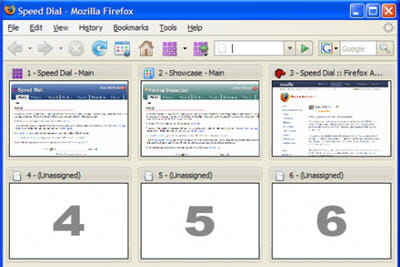 copie d'écran de l'extension firefox speed dial.
