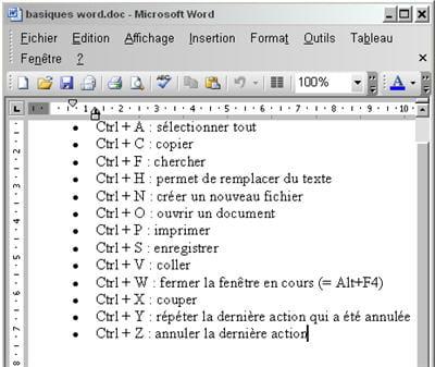 les raccourcis classiques pour tous les logiciels sous windows