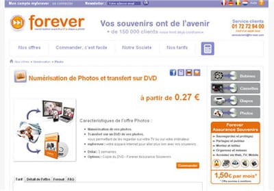 le site for-ever spécialisation dans la numérisation de photos, diapositives,