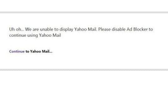Yahoo Mail empêche les utilisateurs d'adblockers d'aller sur leurs comptes