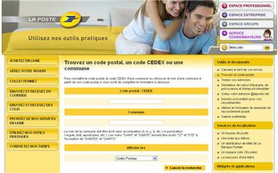 copie d'écran du service en ligne 'trouvez un code postal'.