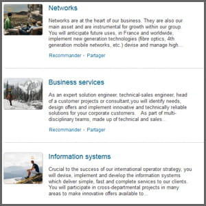 les services mis en avant sur la page linkedin d'orange.