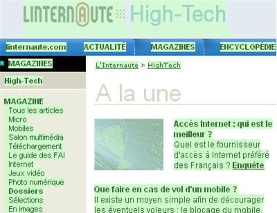 tous les liens de page d'accueil de l'internaute high-tech sont valides ! ils