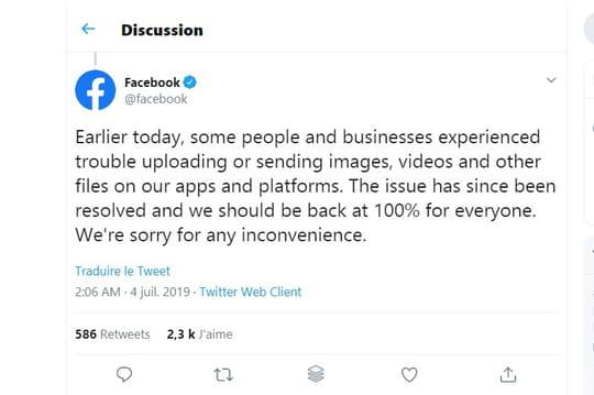 Facebook annonce un retour à la normale après sa panne mondiale