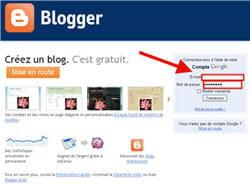 capture d'écran de la page d'accueil du service blogger de google