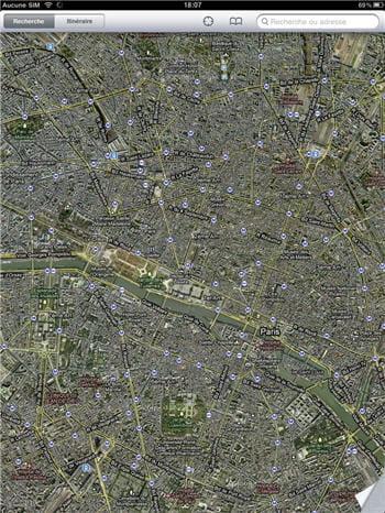 l'application google maps depuis l'ipad