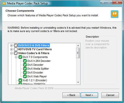 tous les codecs pour media player