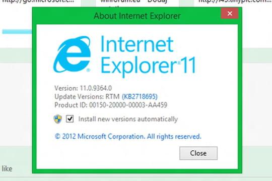 Internet Explorer 11en préversion pour Windows 7