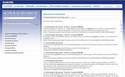 exemple d'une recherche sur danone.com