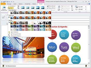 l'insertion d'images et de fonds dans les mails sous outlook 2010 béta