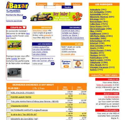 page d'accueil d'ibazar.fr, en novembre 1999