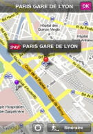 fonction de cartographie disponible sur l'application sncf direct.