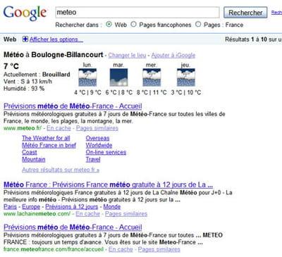 résultats de google pour la requête 'météo'