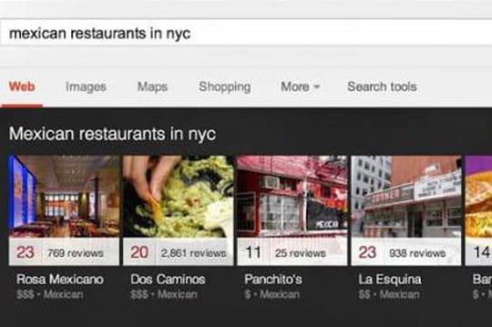 Google inaugure un carrousel d'images pour les recherches locales