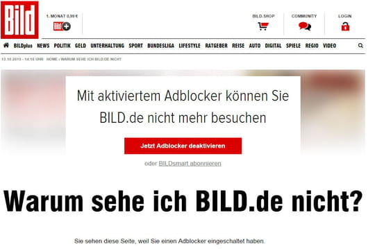 Axel Springer bloque la consultation de Bild.de aux utilisateurs d'adblockers