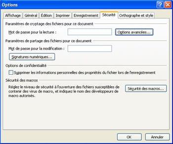 les options de sécurité du document sous powerpoint