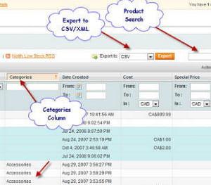 export csv/xml, colonne dédiée aux catégories, recherche de produit :