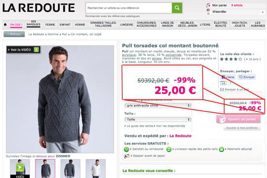 La Redoute pull 60 000 euros