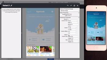 apptimize en action : un clic sur les deux vignettes en bas permet de les