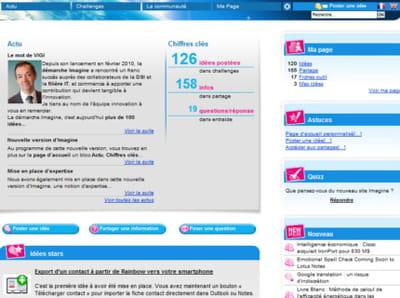 copie d'écran de la page d'accueil de l'intranet imagine de la dsi de gdf-suez.