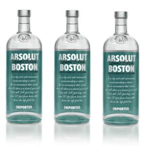 aux etats-unis, la vodka absolut sort des éditions limitées à certaines villes.