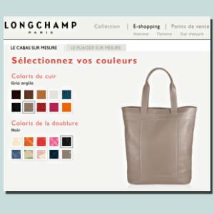 sur le site internet du maroquinier longchamp, on peut se créer un sac à son
