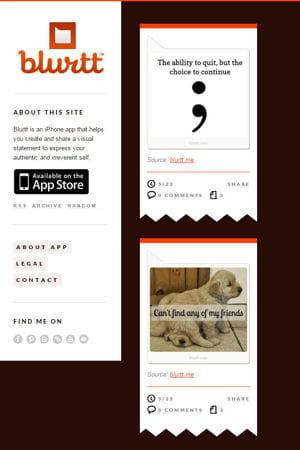 capture d'écran de l'ancien site de blurtt.