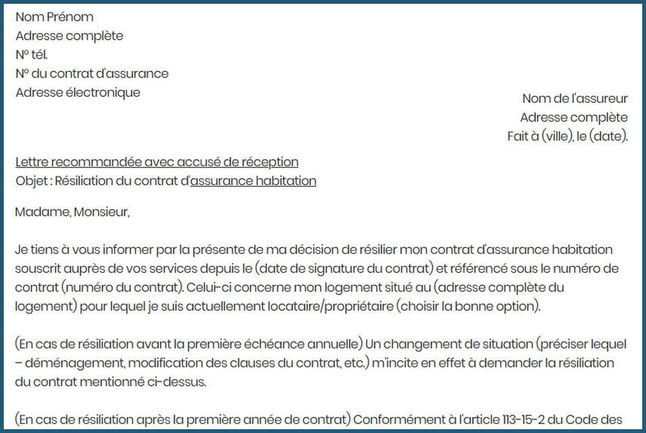 Lettre De Resiliation D Assurance Habitation Modele Gratuit