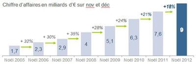 estimation du chiffre d'affaires e-commerce sur novembre-décembre 2012