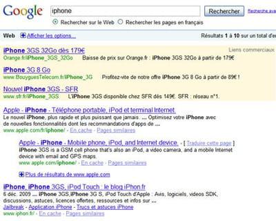 résultats de google pour la requête 'iphone'