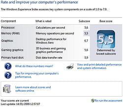 chaque élément de l'ordinateur peut être noté par windows 7