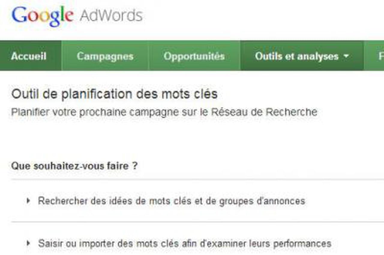 Le keyword tool de google remplac par l 39 outil de for Outil de planification 3d