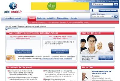 copie d'écran du site pole emploi