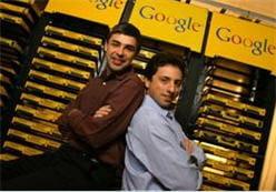 les deux fondateurs larry page et sergey brin, en 2003