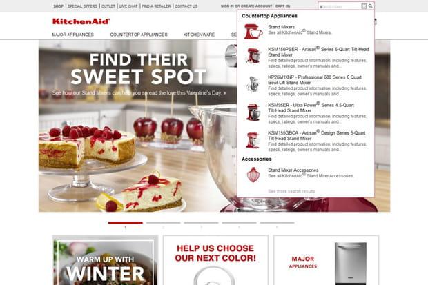 KitchenAid: l'auto-complétion ultra-complète
