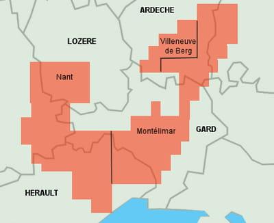 carte des titres miniers accordés par le gouvernement pour l'exploration des gaz
