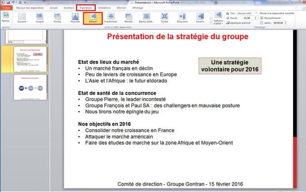 Installer des transitions entre chaque slide
